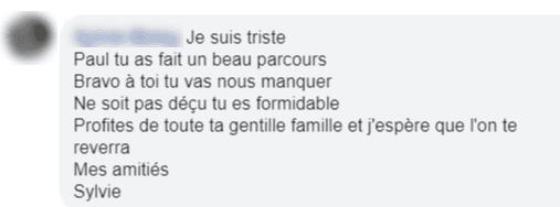 Commentaire d'un fan de Paule pour l'encourager | Photo : Facebook