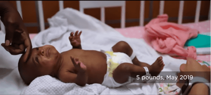 Saybie weighing five pounds | Source: YouTube/Sharp HealthCare