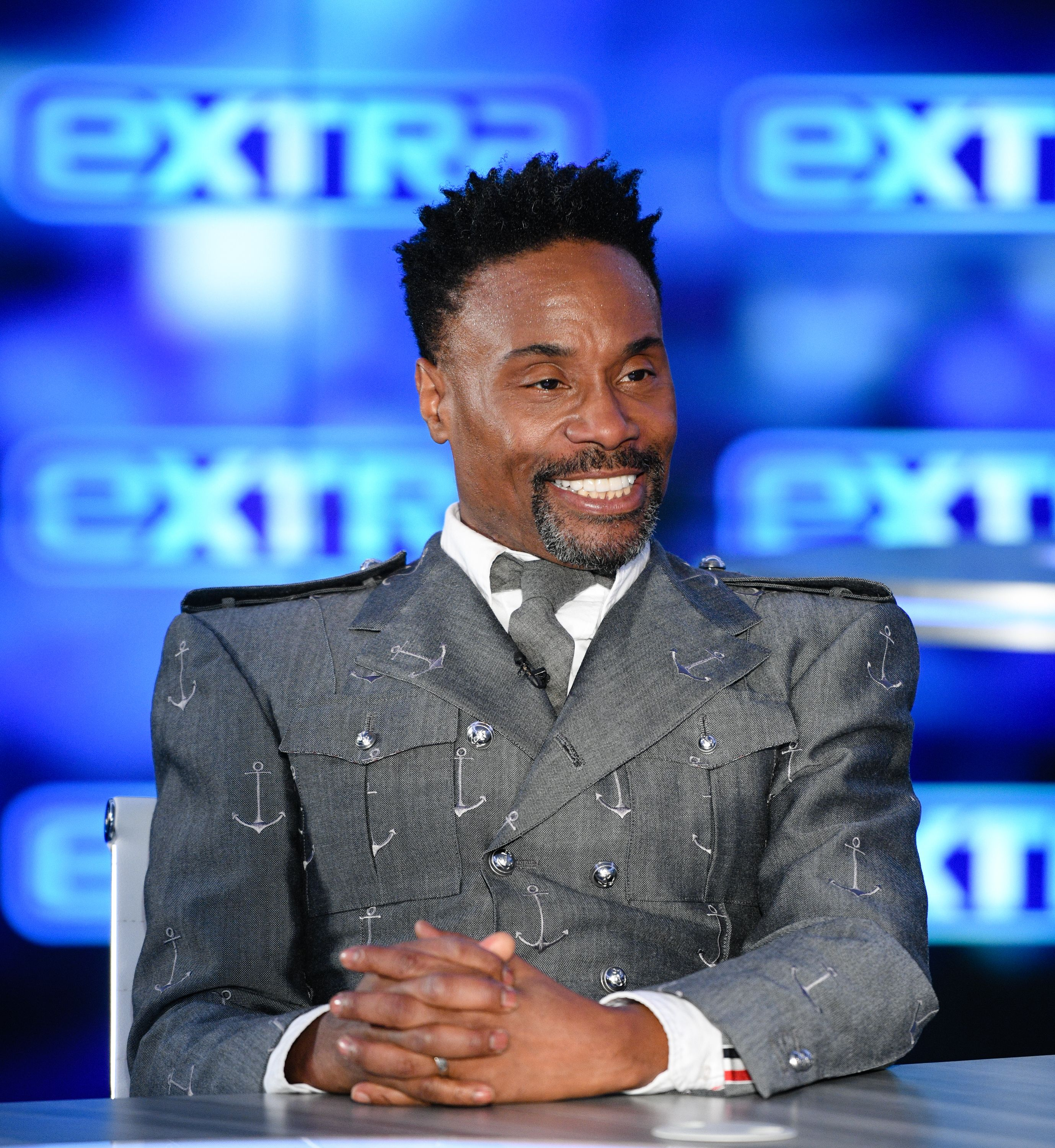 """Billy Porter visits """"Extra"""" at Burbank Studios on December 02, 2019 in Burbank, California 