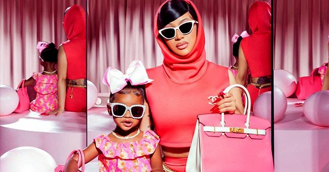 Cardi B and Her Daughter Kulture Go Twinning in Pink Ensembles and Matching Birkin Bags