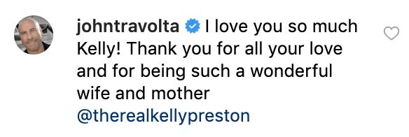 Le commentaire de John Travolta sur le post de Kelly Preston | Source: Instagram / therealkellypreston