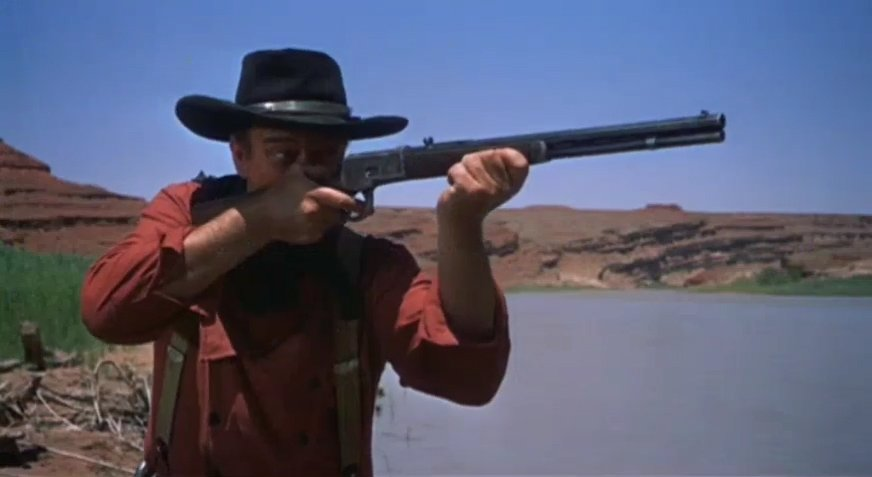 "John Wayne in ""The Searchers"" trailer circa 1956. 