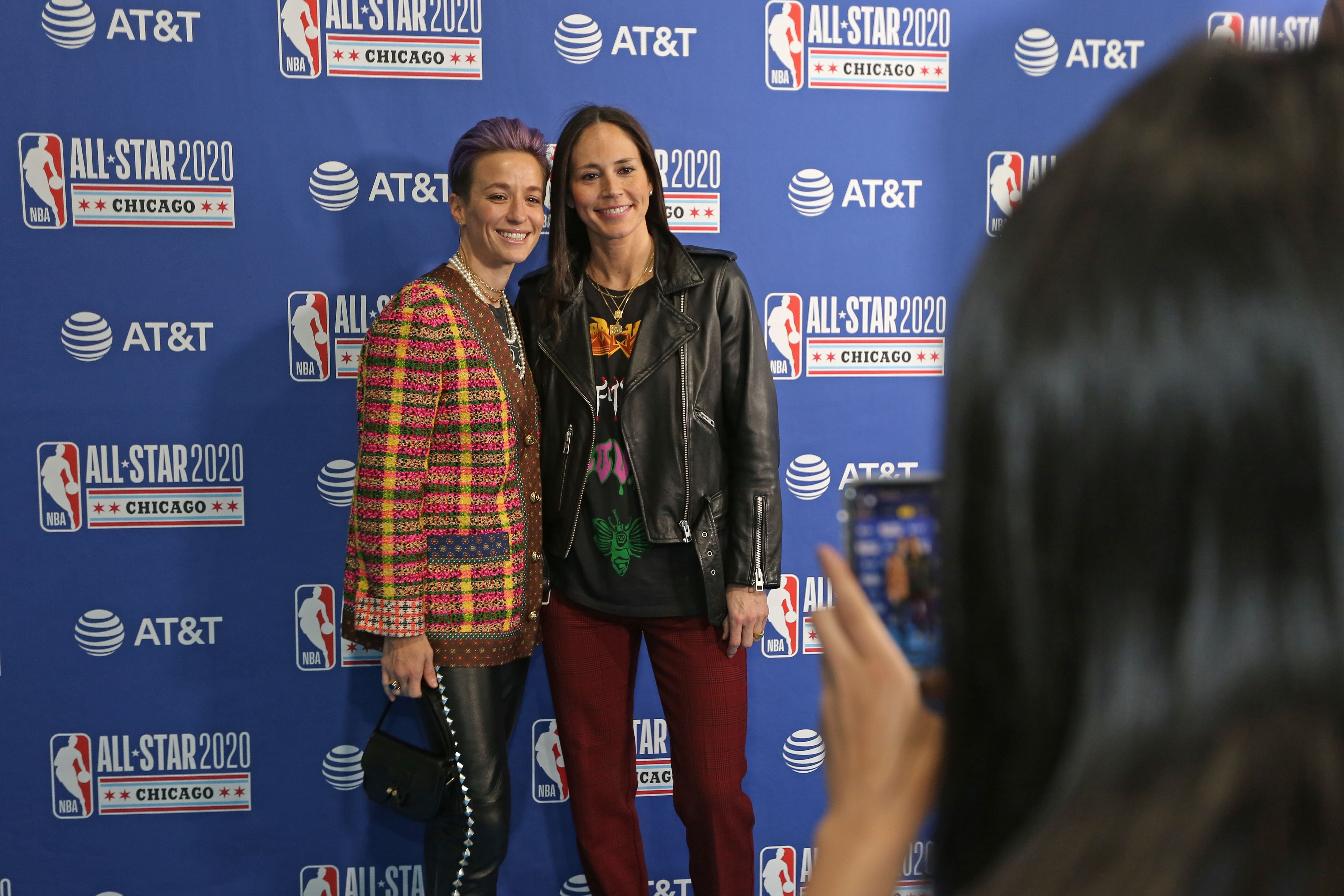 Sue Bird and Megan Rapinoe at the 69th NBA All-Star Game in February 2020 in Chicago Illinois ! Source: Getty Images