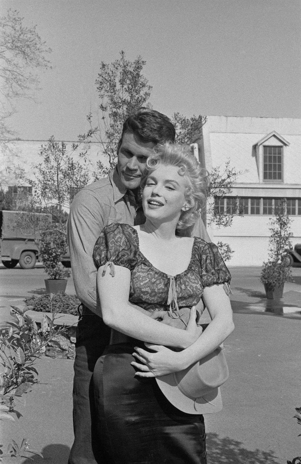 """The late Marilyn Monroe with Don Murray, during a press call to publicise, """"Bus Stop"""" in 1956. Photo: Getty Images"""
