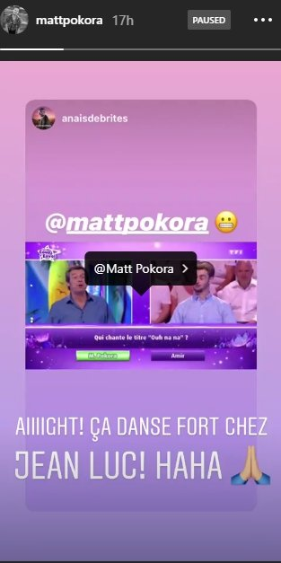 Source: Story Instagram de Matt Pokora