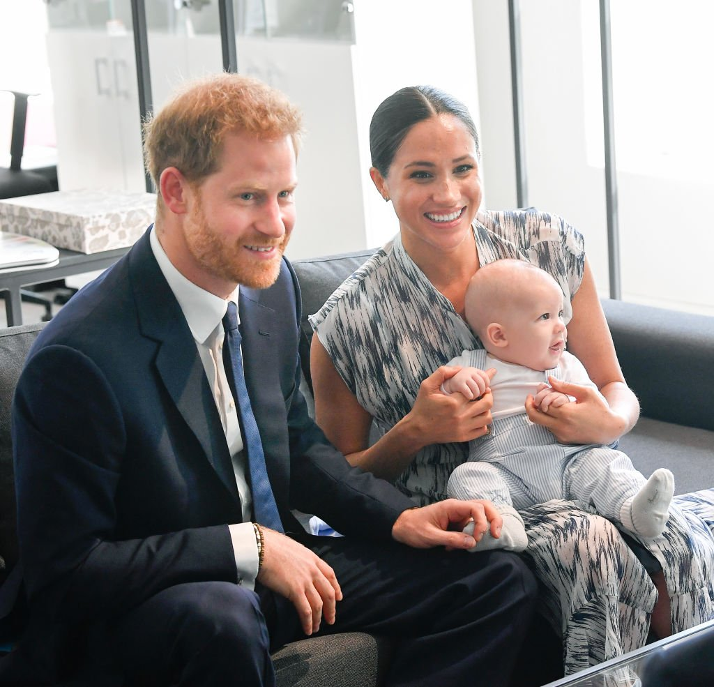 Prince Harry, Meghan, and their baby son Archie Mountbatten-Windsor meet Archbishop Desmond Tutu and his daughter Thandeka Tutu-Gxashe at the Desmond & Leah Tutu Legacy Foundation during their royal tour of South Africa. | Photo: Getty Images