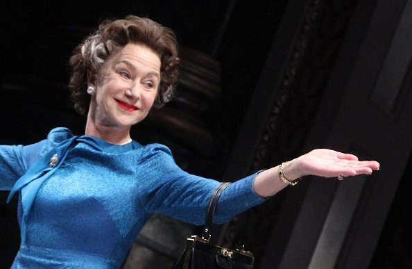 """Dame Helen Mirren takes her curtain call as """"Queen Elizabeth"""" at The Opening Night of """"The Audience"""" on Broadway at The Gerald Schoenfeld Theatre"""