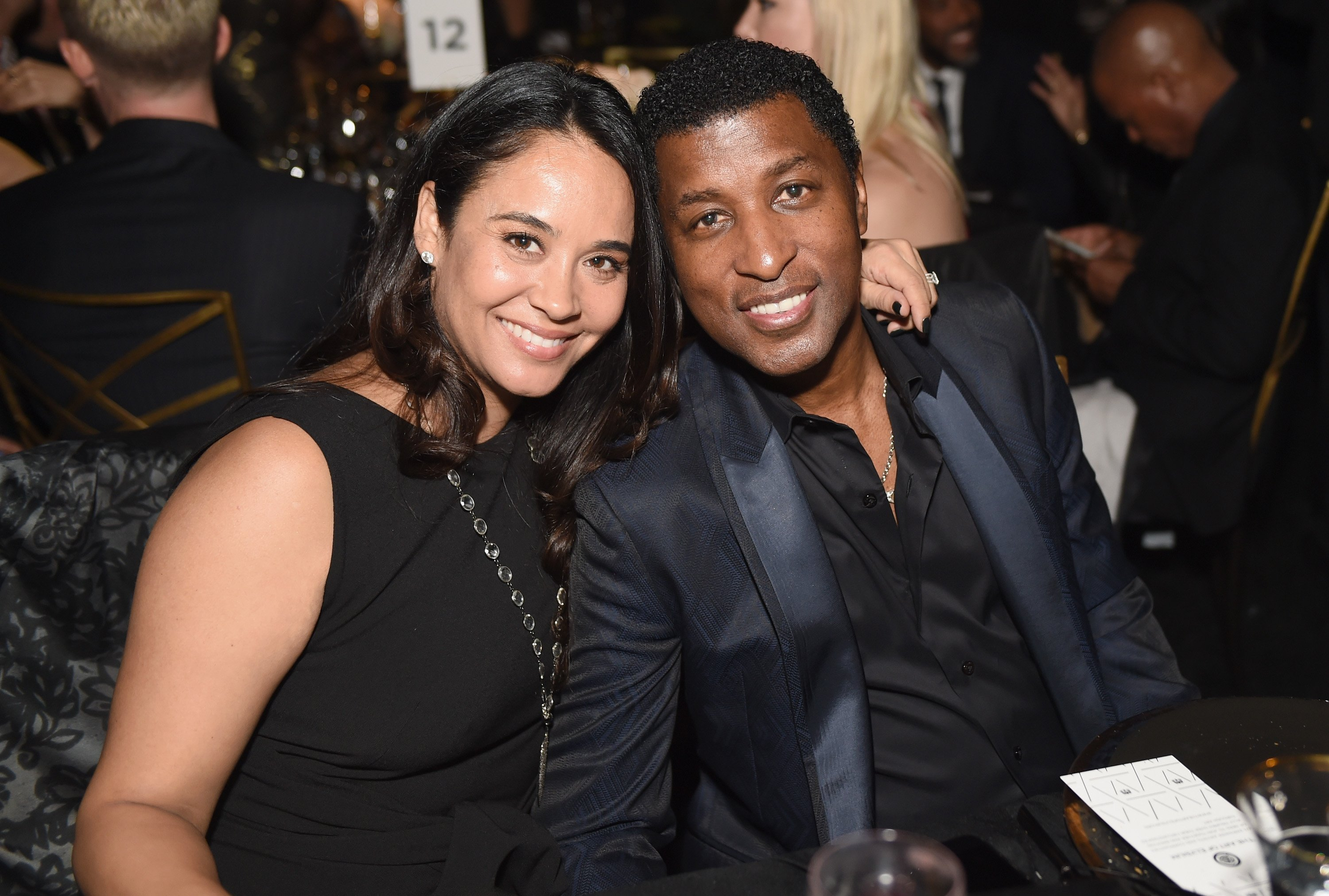 """Kenny """"Babyface"""" Edmonds with his wife, Nicole Patenburg at an event celebrating """"Stevie Wonder's HEAVEN"""" at The Art of Elysium in January 2017. 