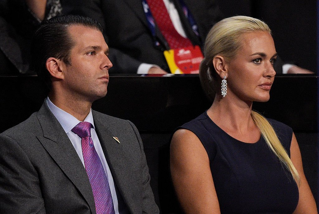 Donald Trump Jr. and Vanessa Trump attend the evening session on the fourth day of the Republican National Convention.   Source: Getty Images