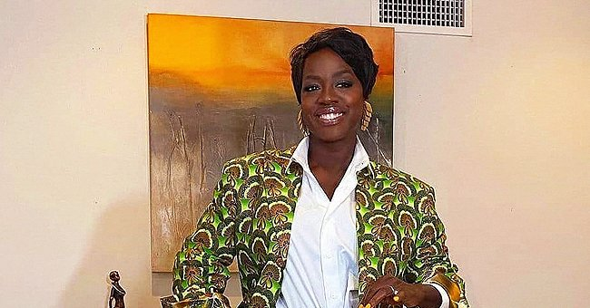 Viola Davis Looks Stunning with a Short Haircut as She Poses in a Stylish Printed Green Suit