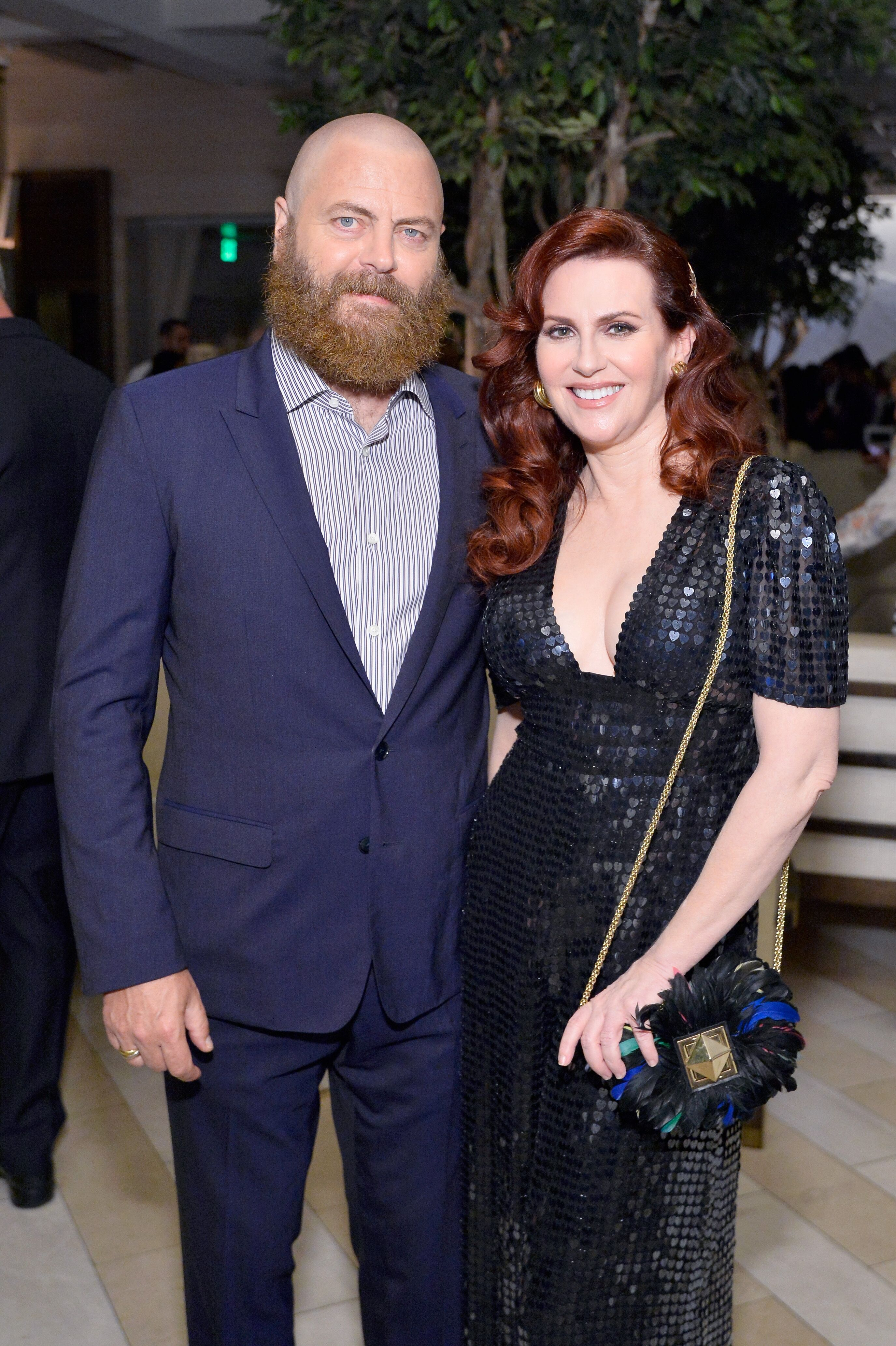 Megan Mullally and Nick Offerman at the Hollywood Reporter & SAG-AFTRA 2nd annual Emmy Nominees Night in 2018 | Source: Getty Images
