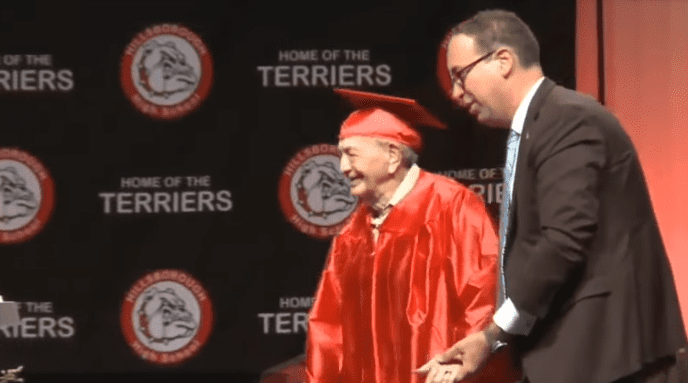 Joe Perricone and his grandson, Thomas Palermo, at Hillsborough High School | Photo: ABC Action News