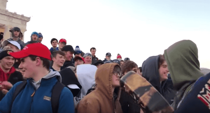 The Covington Catholic High School students at the Lincoln Memorial in Washington | Photo: On Native Ground