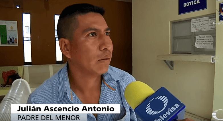 Padre del niño.   Imagen tomada de: YouTube/ Noticieros Televisa