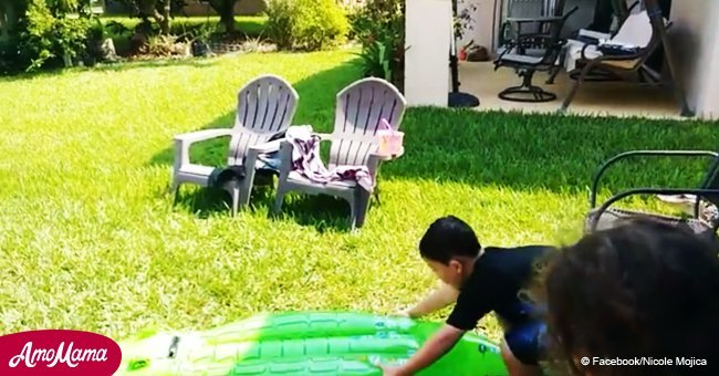 Mom filmed son playing with toy alligator and didn't realize there was a real alligator nearby