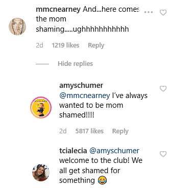 Amy reply to one of her fan's comment on her post. | Source: Instagram/amyschumer