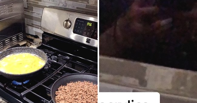 Paeth's partner cooking dinner while a woman's reflection is seen on the tiles.   Source: TikTok/@Kayla_paeth
