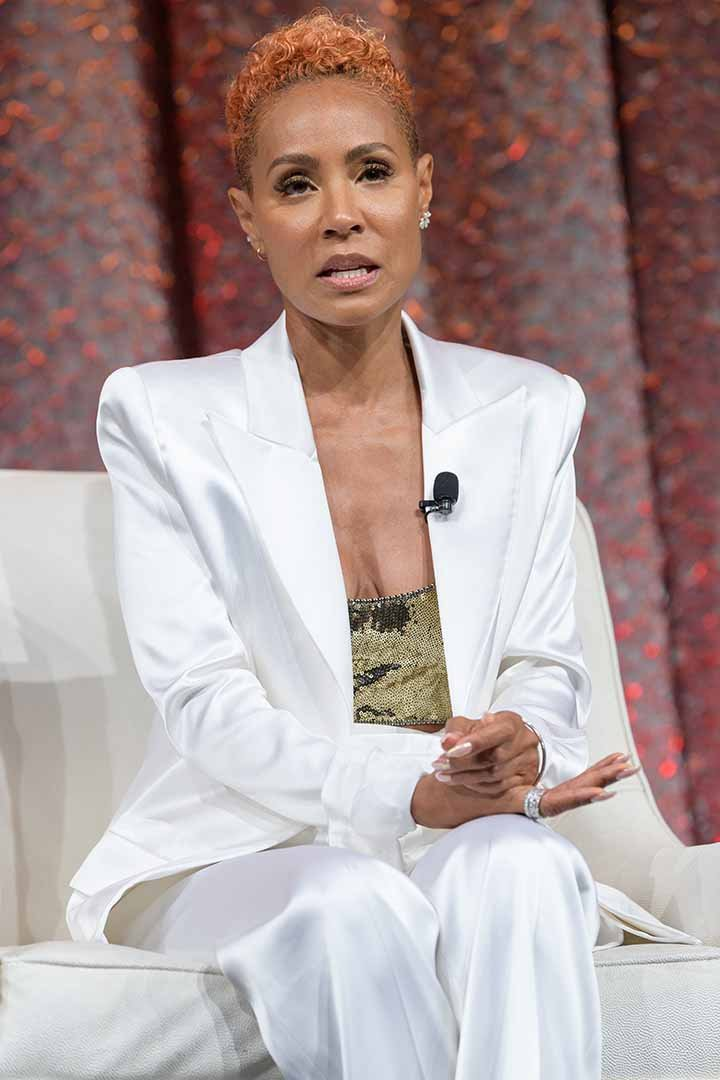 Jada Pinkett-Smith speaks on stage during NATPE Miami 2020 - Facebook with Gloria, Emily and Lili Estefan at Fontainebleau Hotel on January 22, 2020 in Miami Beach, Florida. I Image: Getty Images.
