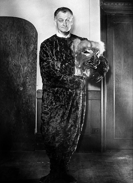 "Photo of Art Carney in a dog costume for ""The Man in the Dog Suit."" 