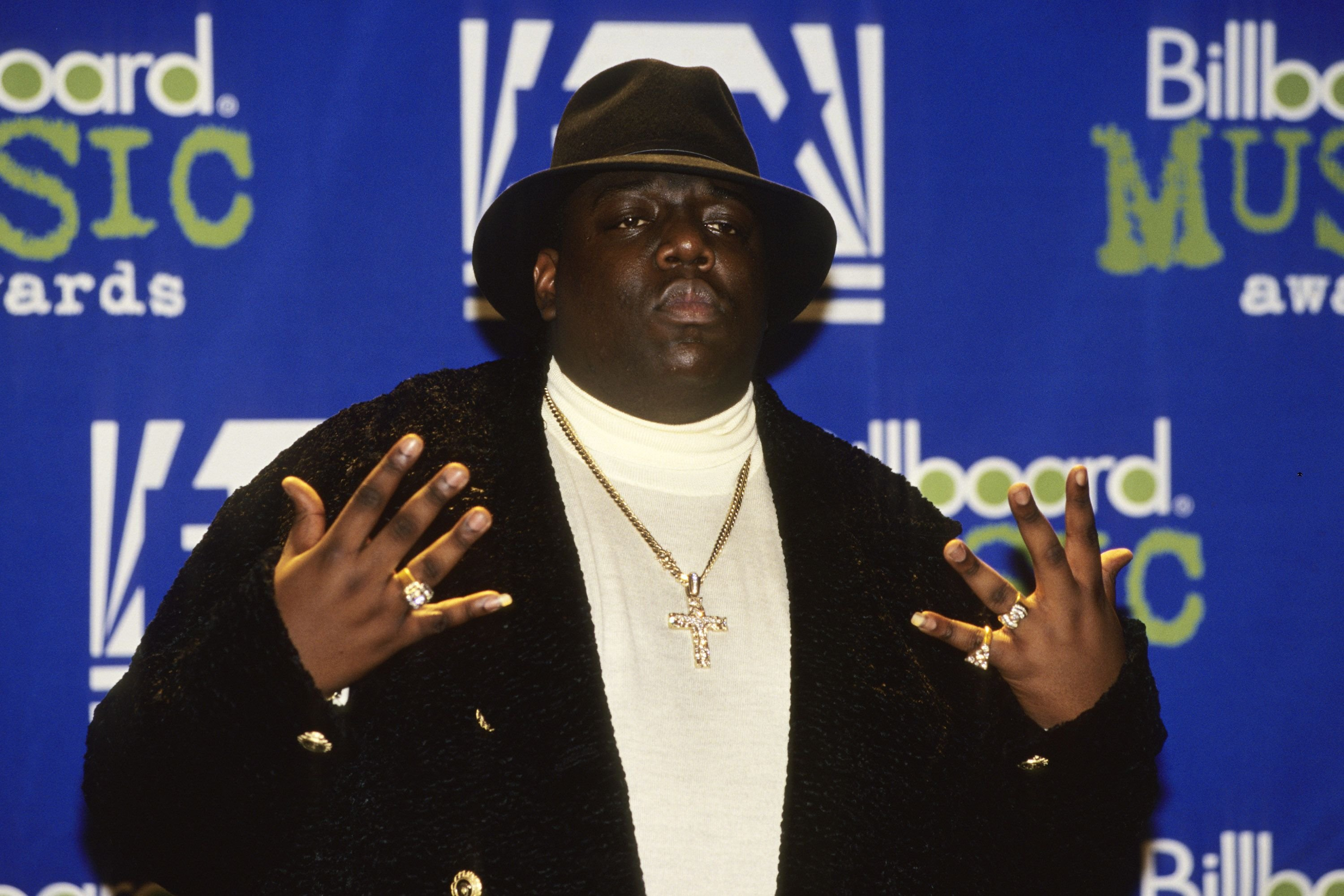 American rapper Notorious B.I.G. at the 1995 Billboard Music Awards in New York on December 6, 1996 | Photo: Getty Images