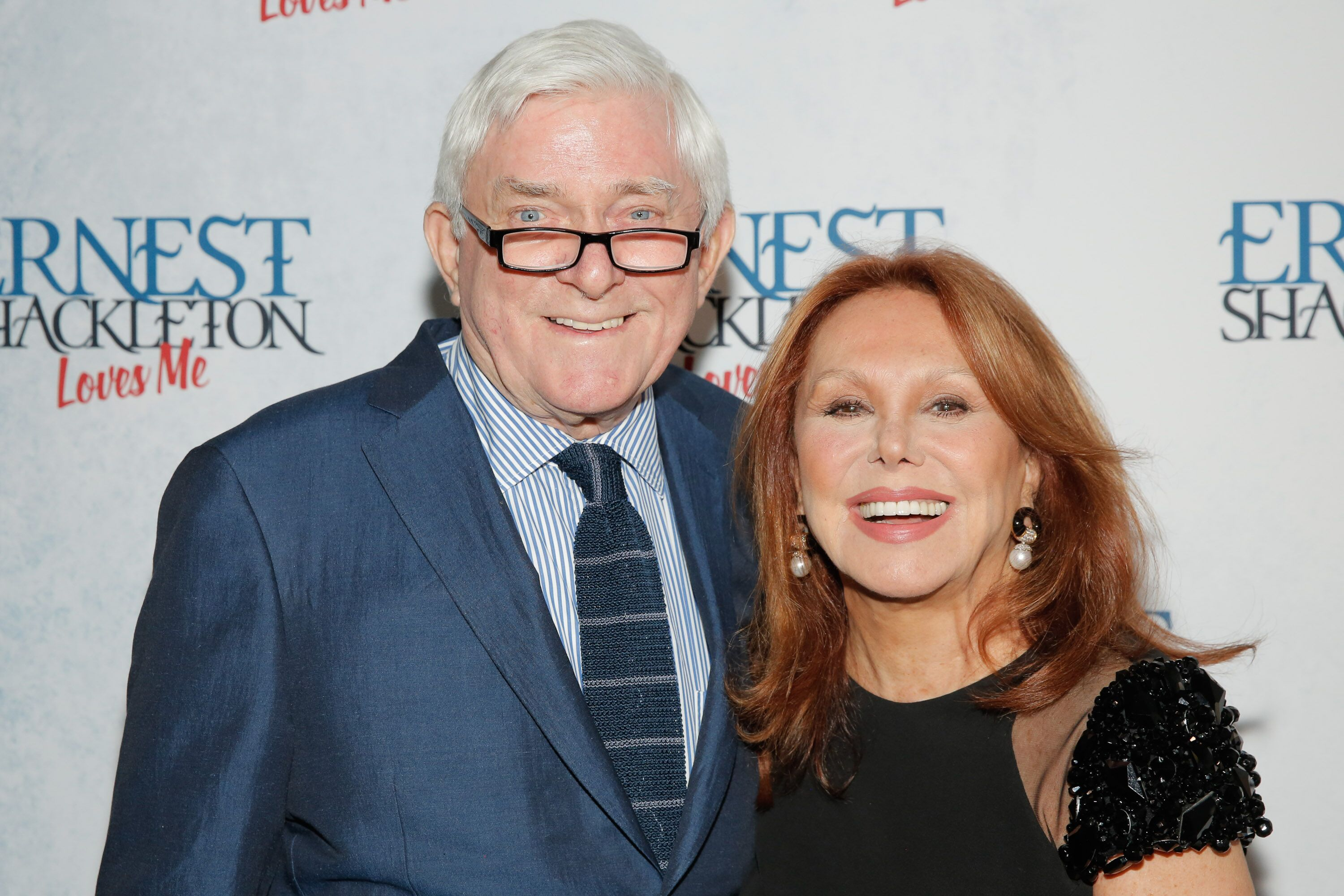 "Phil Donahue and Marlo Thomas attend the Off-Broadway opening of ""Ernest Shackleton Loves Me"" at the Tony Kiser Theatre 
