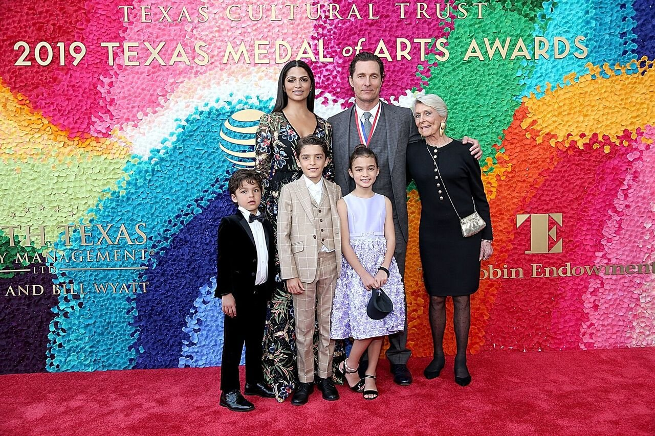 Livingston Alves McConaughey, Camila Alves, Levi Alves McConaughey, honoree Matthew McConaughey, Vida Alves McConaughey and Kay McConaughey attend the Texas Medal Of Arts Awards at the Long Center for the Performing Arts on February 27, 2019 in Austin, Texas. | Source: Getty Images