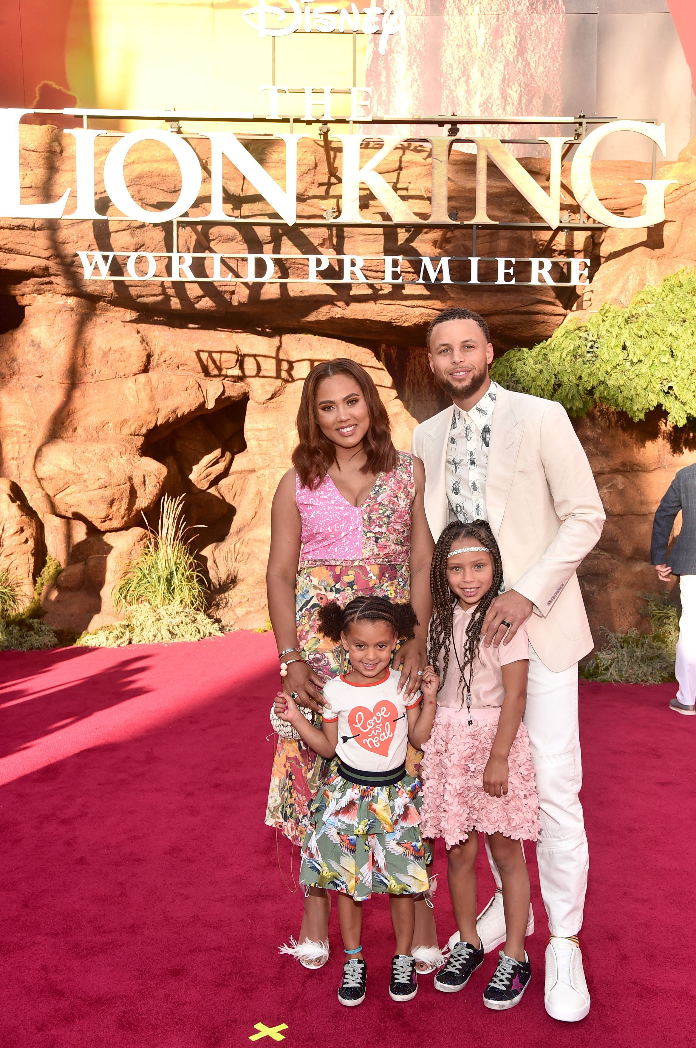 """Ryan Curry, Ayesha Curry, Riley Curry, and Stephen Curry at the World Premiere of Disney's """"THE LION KING"""" on July 09, 2019 in Hollywood, California 