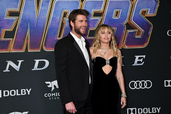 "Liam Hemsworth and Miley Cyrus attends the World Premiere of Walt Disney Studios Motion Pictures ""Avengers: Endgame"" on April 22, 2019 