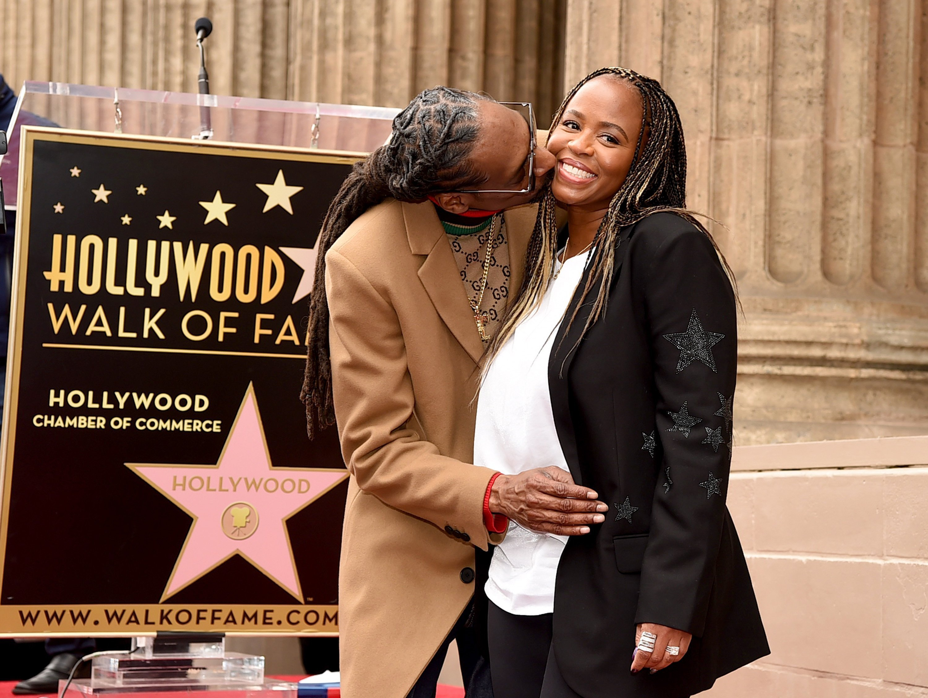 Snoop Dogg and Shante Broadus at the Hollywood Walk of Fame on Hollywood Boulevard in November 2018. | Source: Getty Images/GlobalImagesUkraine