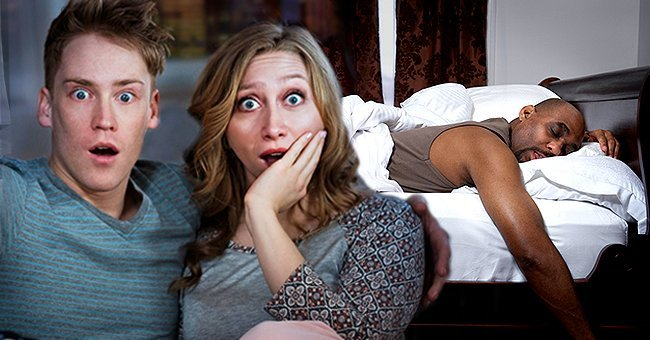 Young couple watching TV at night and Mature man sleeping in bed   Source: Getty Images
