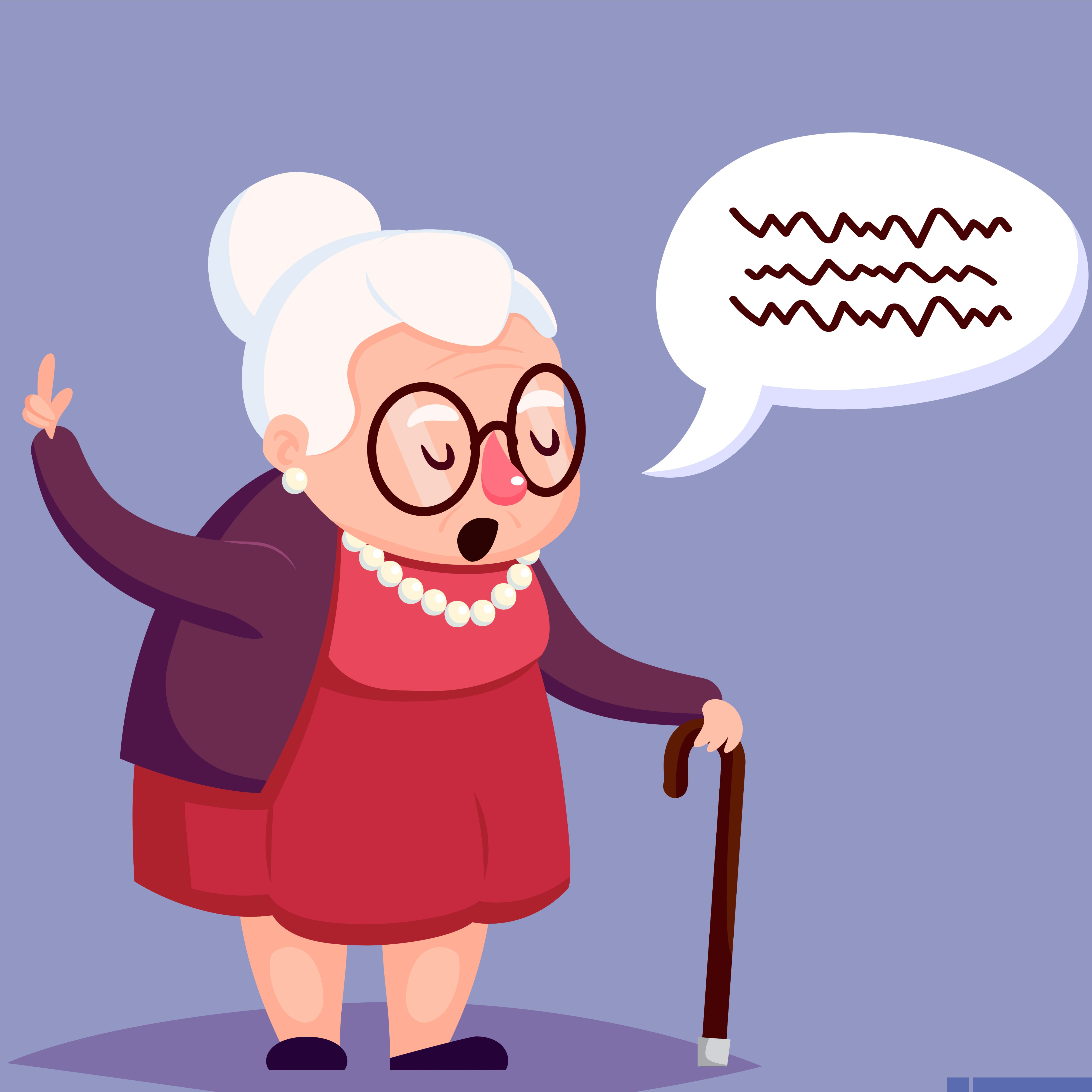 Senior lady with glasses talking   Source: Shutterstock