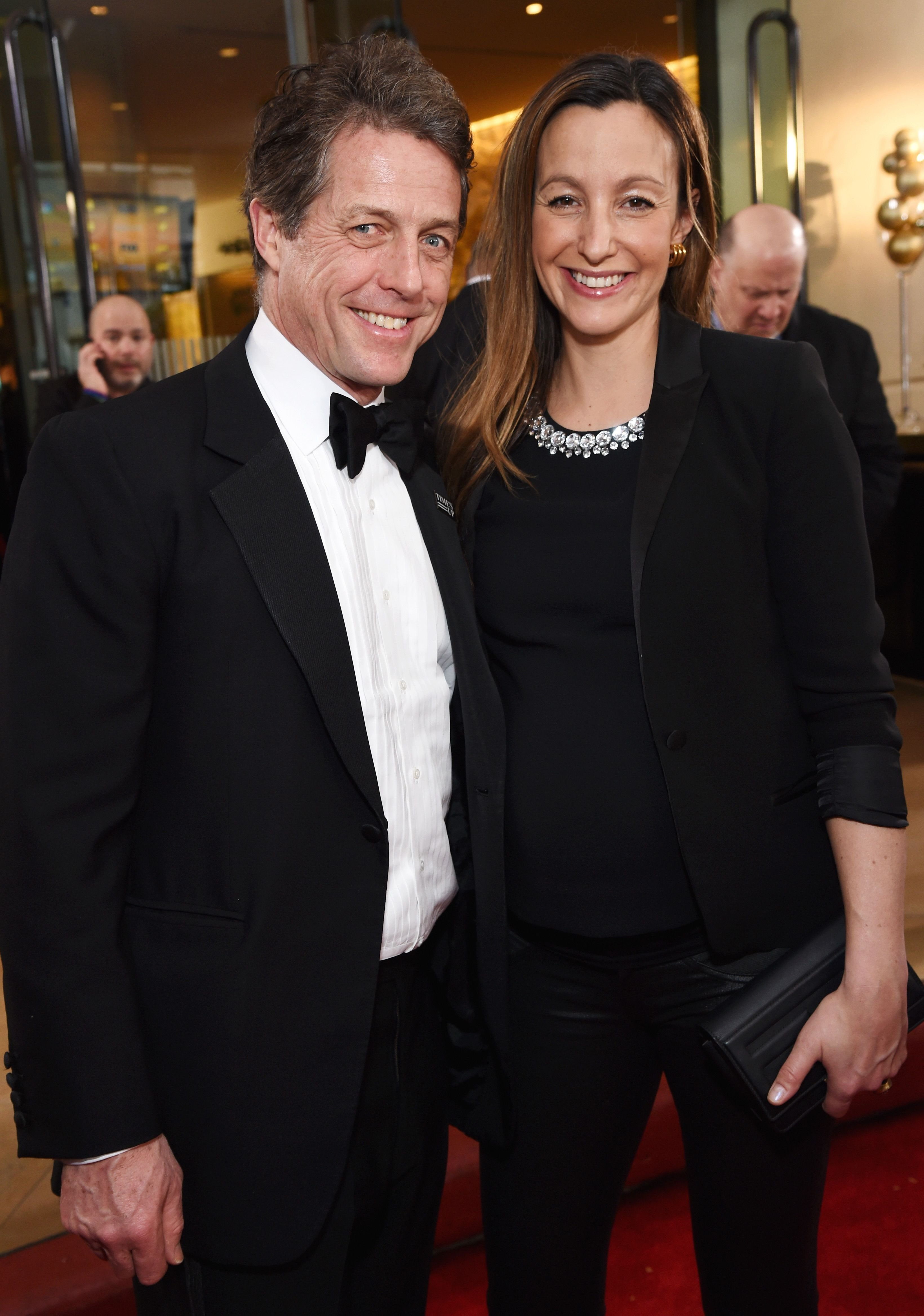 Actor Hugh Grant and Anna Eberstein celebrate The 75th Annual Golden Globe Awards with Moet & Chandon at The Beverly Hilton Hotel on January 7, 2018   Photo: Getty Images