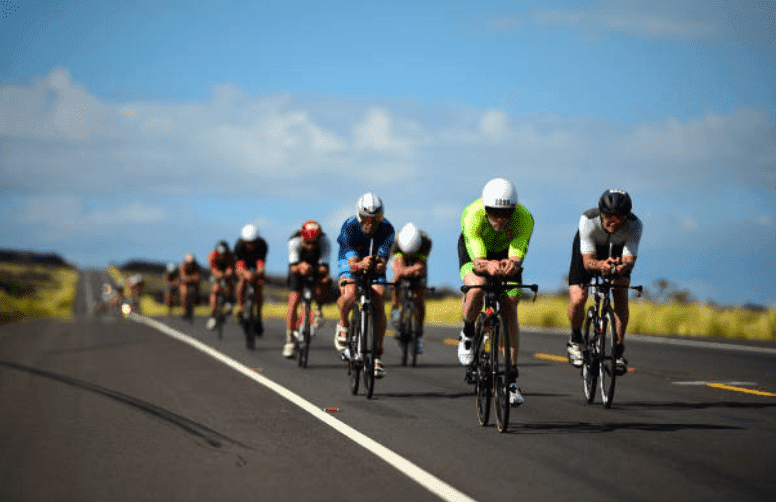40th Ironman World Championship. A view of cyclists competing in the bike portion of the triathlon, on 13 October 2018, in Kailua-Kona| Source:  Kohjiro Kinno /Sports Illustrated via Getty Images