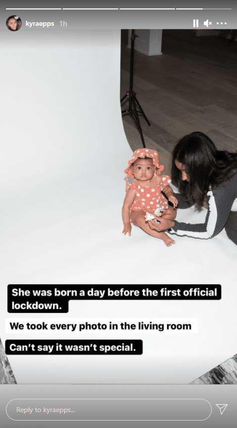 Baby Indiana Rose Epps getting ready for a photoshoot with mother Kyra Robinson. │Source: Instagram/kyraepps
