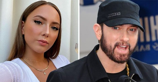 Eminem's Daughter Hailie Jade, 25, Flaunts Killer Curves in Low Cut White Top & High Waisted Jeans While Sipping Cocktail