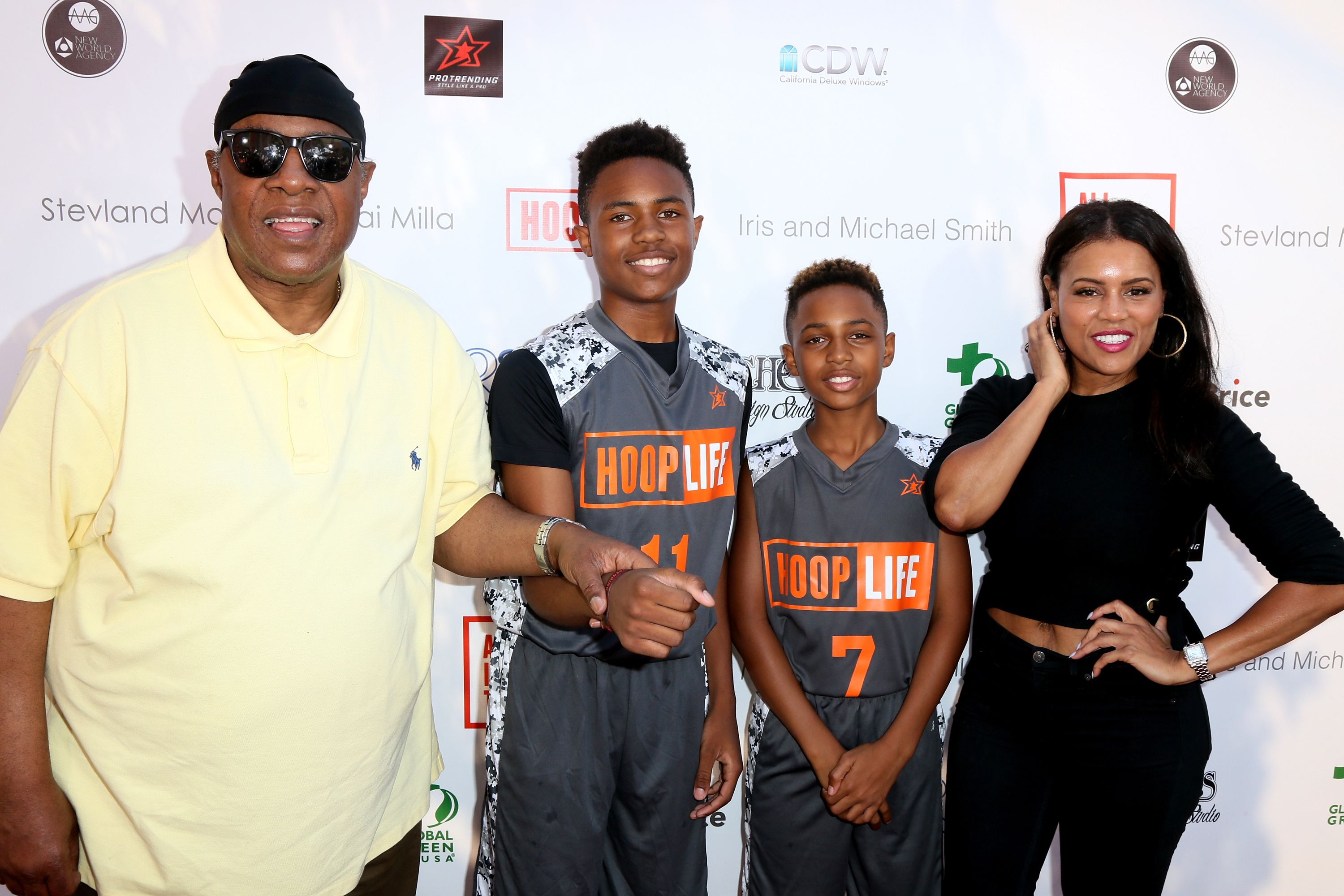Stevie Wonder, sons Kailand Morris and Mandla Morris, and designer Kai Milla attend the 4th Annual Kailand Obasi Hoop-Life Fundraiser at USC Galen Center on August 28, 2016 in Los Angeles, California | Source: Getty Images