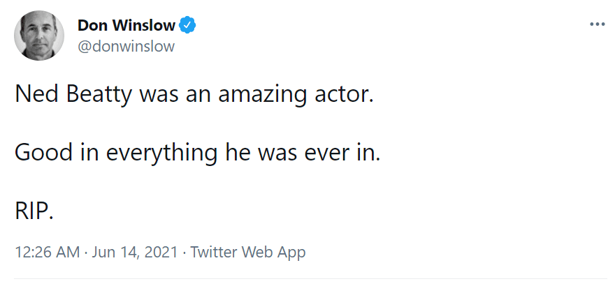 Don Wilson says his goodbye to Ned Beatty on June 14, 2021 | Photo: Twitter/@donwinslow