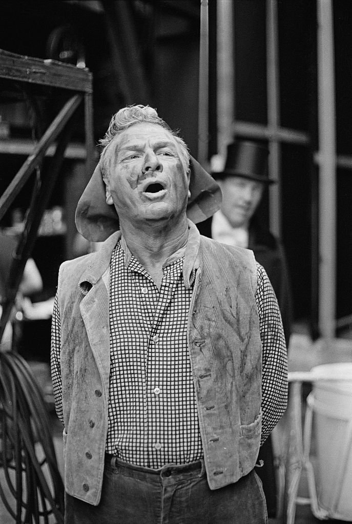 "Eddie Albert (1906 - 2005) as 'Alfred P. Doolittle' in the Muny Repertory production of ""My Fair Lady"" 