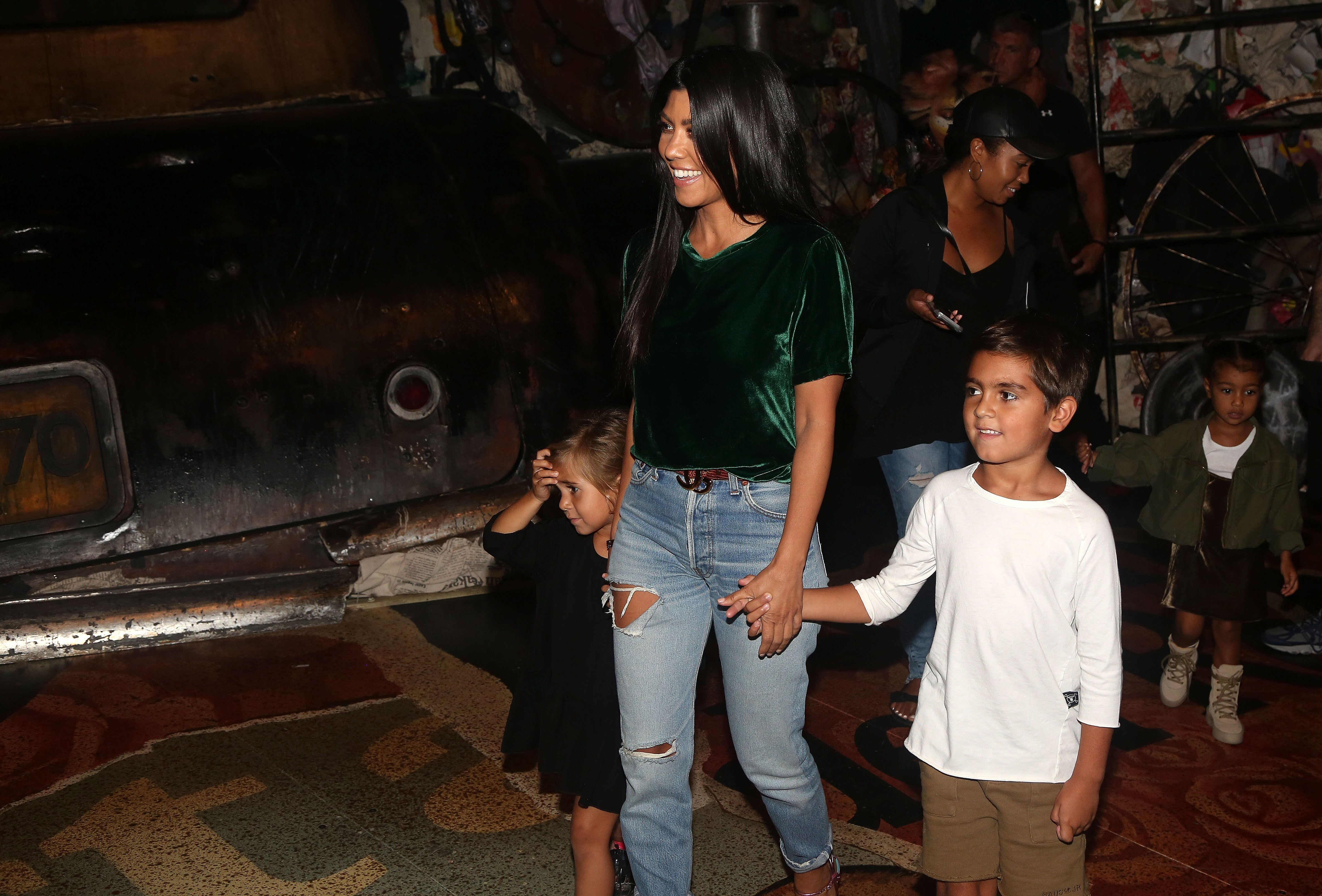 """Kourtney Kardashian, Mason Disick, Penelope Disick and North West backstage at """"Cats"""" on Broadway at The Neil Simon Theatre on September 11, 2016, in New York City. 
