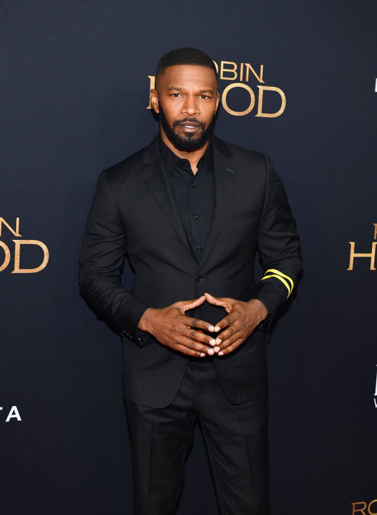 """Actor Jamie Foxx attends the 2018 screening of the movie """"Robin Hood"""" in New York City. 