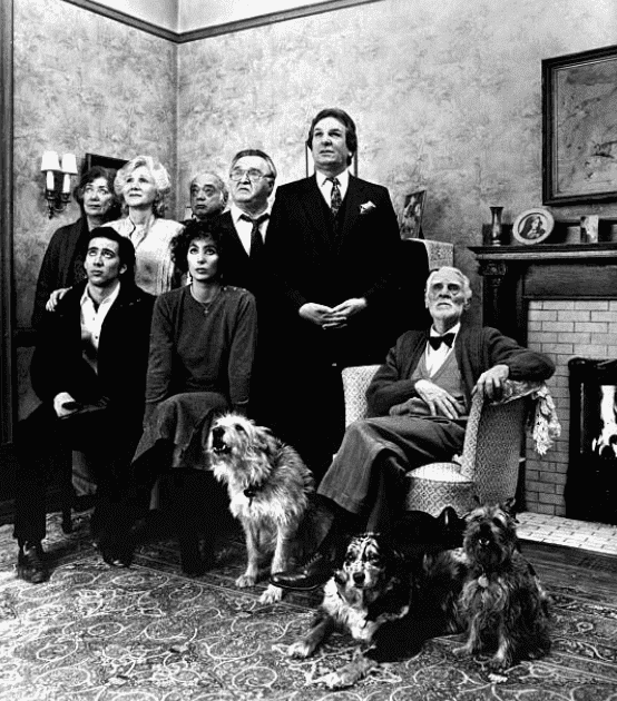 "Nicolas Cage, Julie Bovasso, Olympia Dukakis, Vincent Gardenia, Danny Aiello and Cher sit in a living room during a scene from movie ""Moonstruck,"" on December 16, 1987 