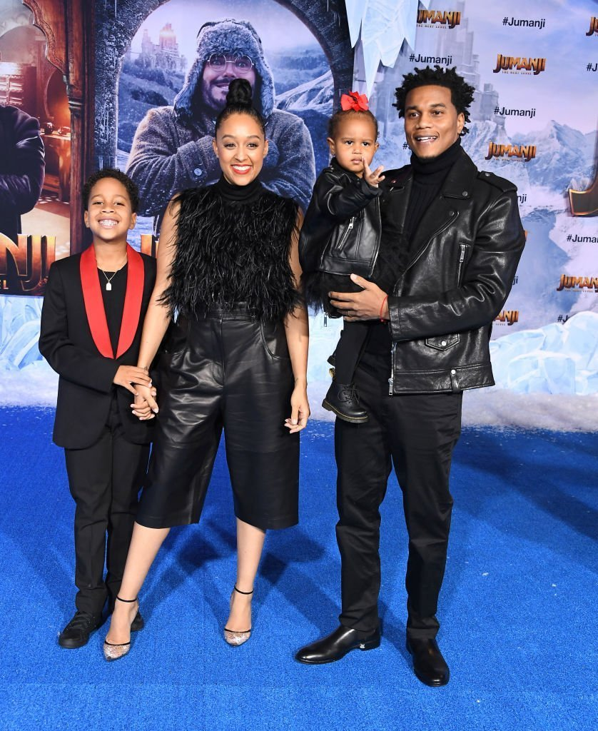 "Cree Hardrict, Tia Mowry-Hardrict, Cory Hardrict and Cairo Tiahna Hardrict arrives at the Premiere Of Sony Pictures' ""Jumanji: The Next Level"" on December 09, 2019 in Hollywood, California. 
