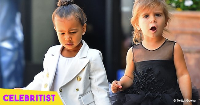 Kim Kardashian shares photo of North and Penelope in matching swimsuits at unicorn birthday party