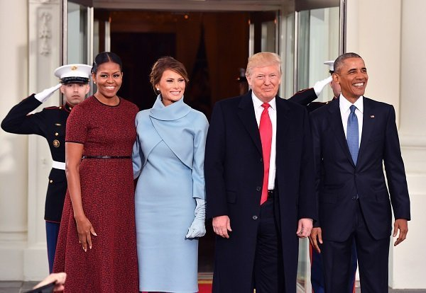 Michelle Obama and Melania Trump posing together next to Donald Trump and Barack Obama on January 20, 2017 in Washington, DC | Photo: Getty Images