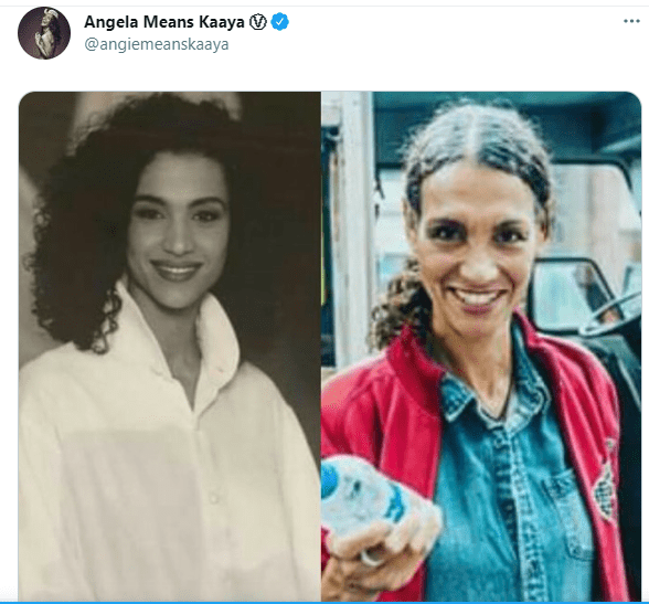 Angela means posts throwback picture side by side a recent picture of her on Twitter. │ Photo: Twitter/angiemeanskaaya