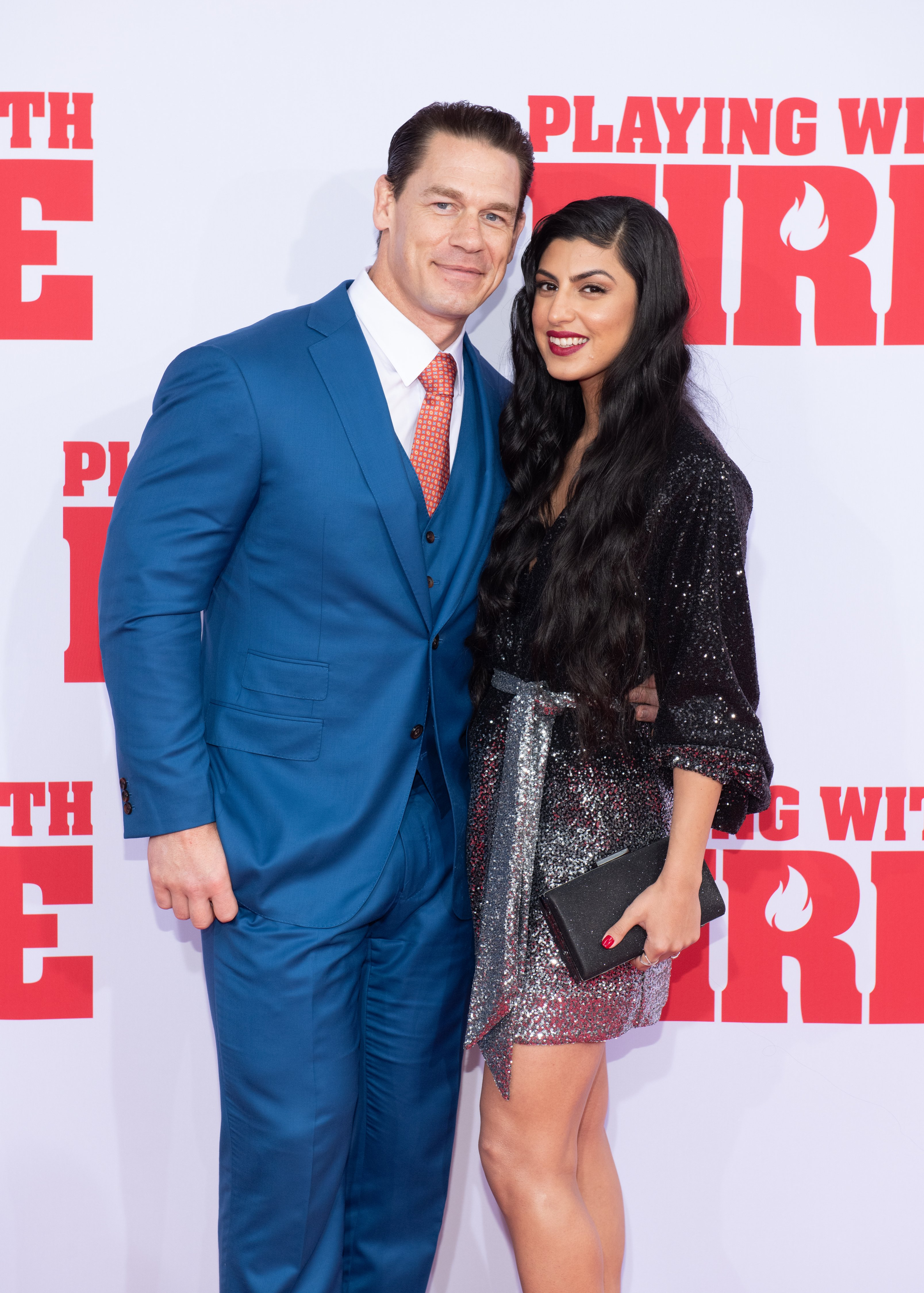 "John Cena and Shay Shariatzadeh attend the ""Playing With Fire"" New York premiere at AMC Lincoln Square Theater on October 26, 2019, in New York City. 