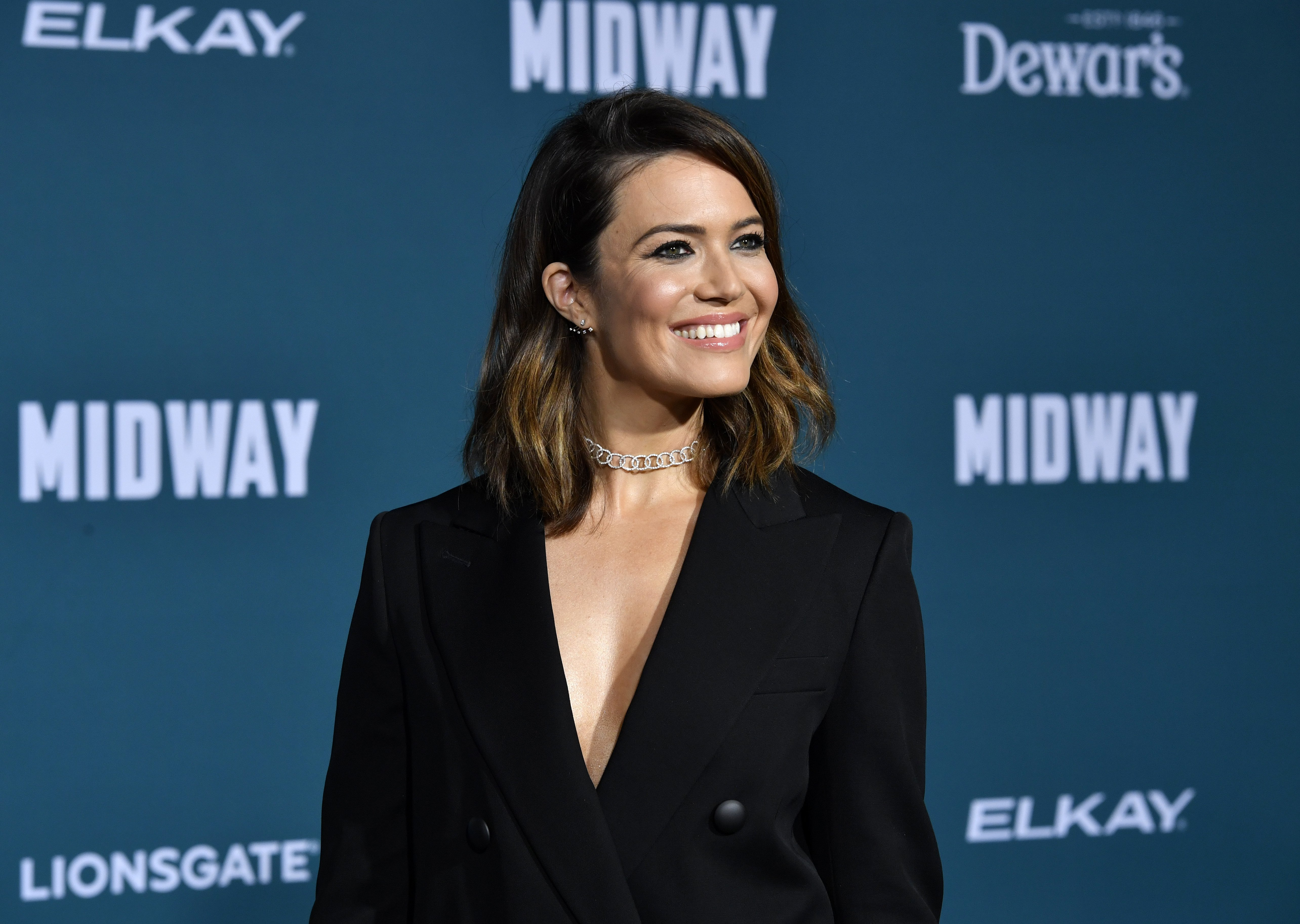 "Mandy Moore attends the Premiere Of Lionsgate's ""Midway"" at Regency Village Theatre on November 05, 2019 in Westwood, California. 