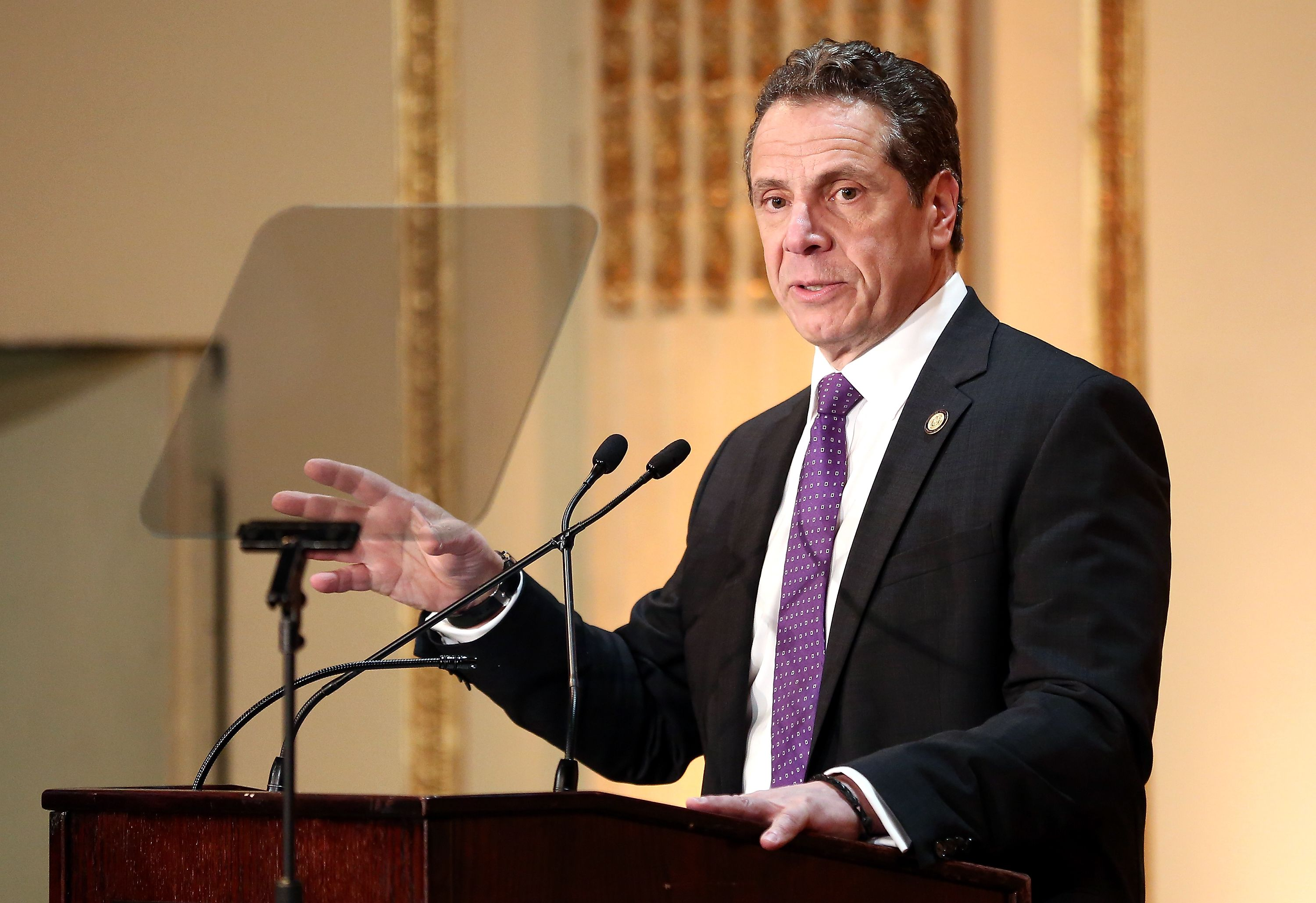 Governor of New York State Andrew Cuomo speaks on stage at the HELP USA 30th Anniversary Event at The Plaza Hotel on March 16, 2017   Photo: Getty Images