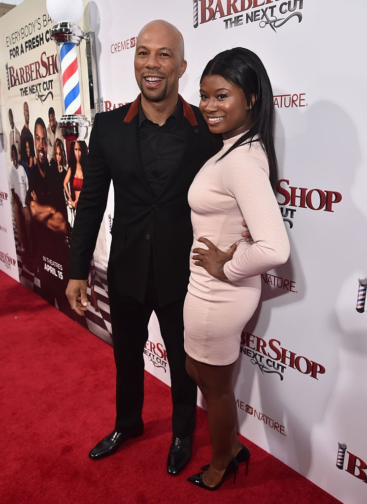 """Common and his daughter Omoye Assata Lynn attending the premiere of New Line Cinema's """"Barbershop: The Next Cut"""" at the TCL Chinese Theatre on  April 6, 2016 in Hollywood. 