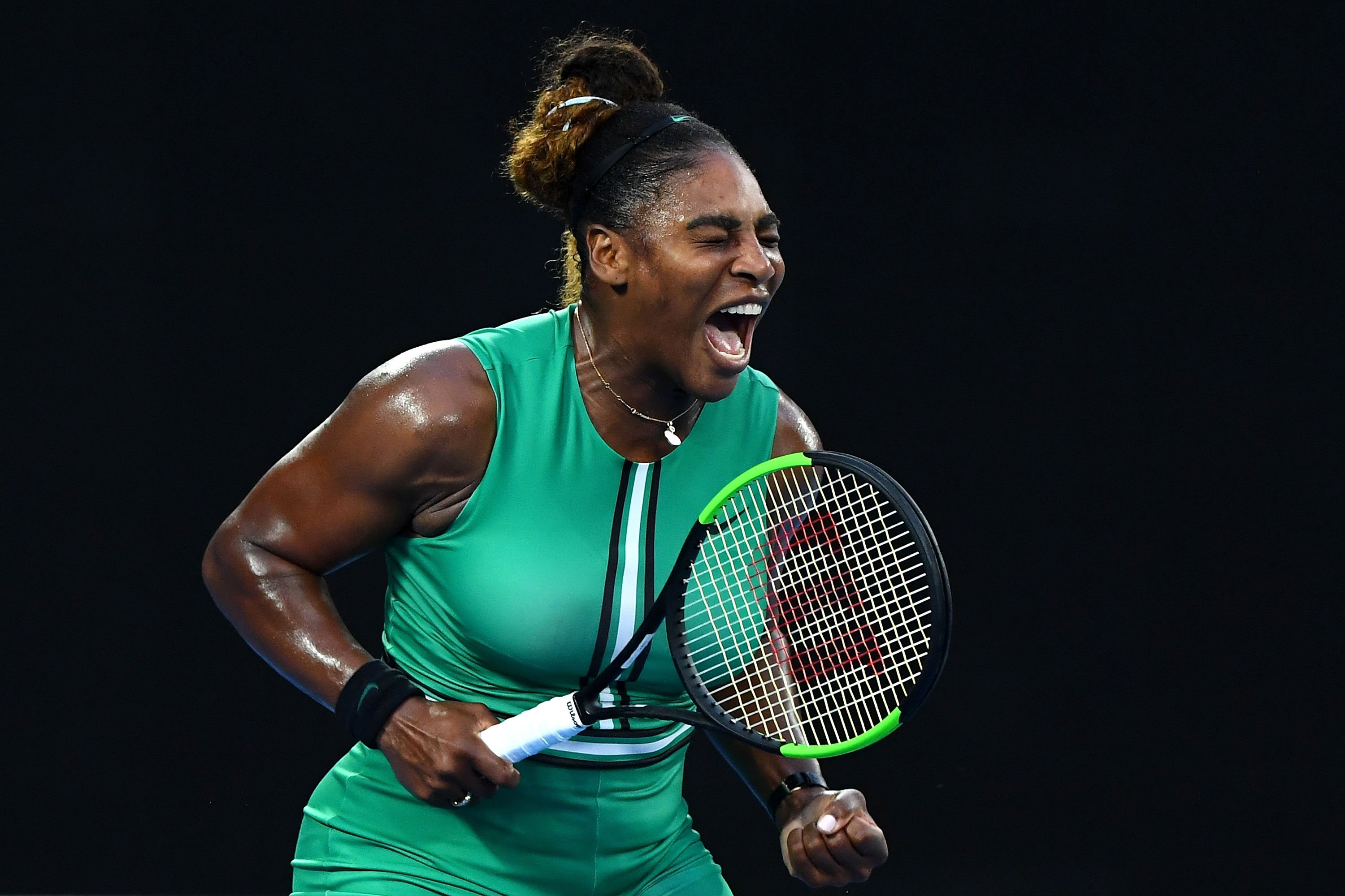 Serena Williams showing her emotions during her game at the 2017 Australian Open in Melbourne, Australia.   Photo: Getty Images